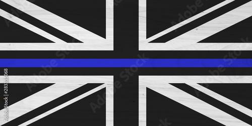 British thin blue line flag with wood texture Fototapeta