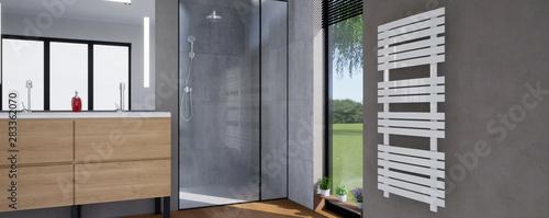Fotografija vue 3d salle de bain avec sèche serviette 03