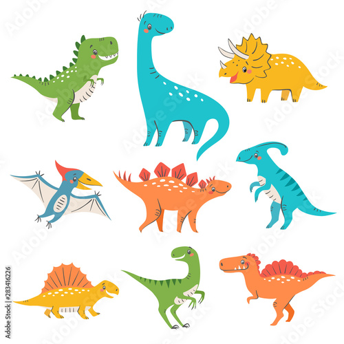 Carta da parati Set of cute colorful dinosaurs for kids design isolated on white background