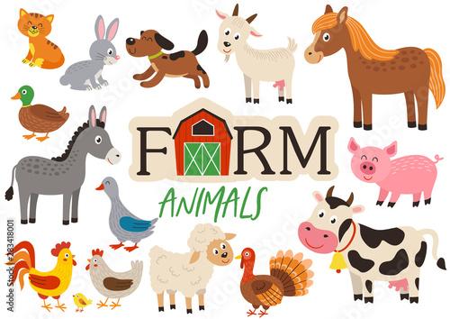 Stampa su Tela set of isolated cute farm animals- vector illustration, eps