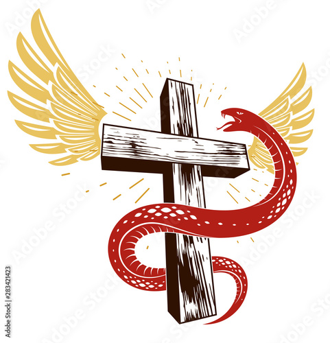 Photo Serpent on a Cross vintage tattoo, snake wraps around Christian cross, God and Devil allegory, the struggle between good and evil, symbolic vector illustration logo or emblem