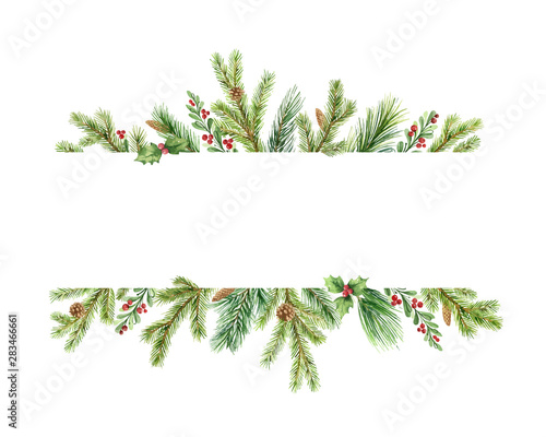 Canvas Print Watercolor vector Christmas banner with green pine branches and place for text