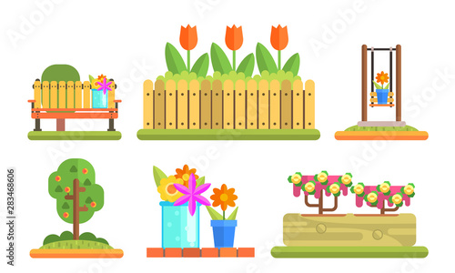 Canvas-taulu Park and Garden Elements Set, Flowerbeds with Blooming Flowers and Plants, Woode