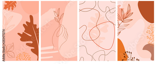 Fotografía Set of abstract vertical background with autumn elements, shapes, plants and human hands in one line style