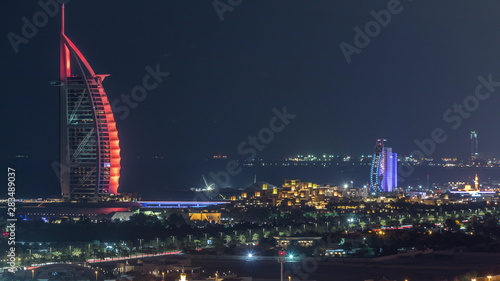 Photo Aerial view of Burj Al Arab hotel from Internet city night timelapse