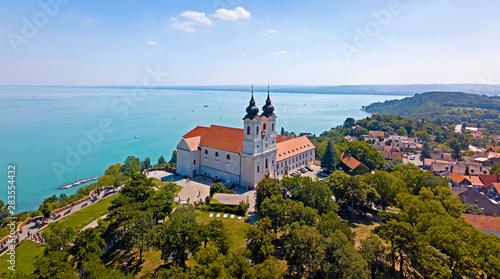 Fotografie, Obraz Aerial view of the Tihany Abbey at Lake Balaton