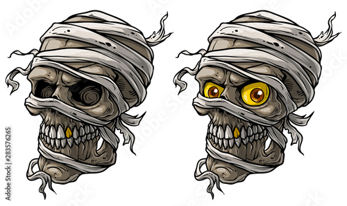 Canvastavla Cartoon detailed realistic colorful scary egyptian mummy skulls with yellow eyes, golden tooth and bandage