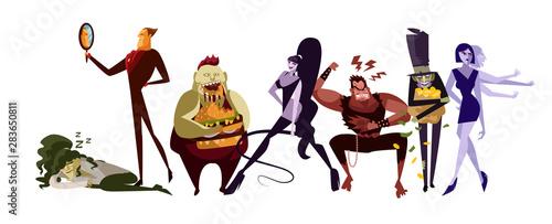 Obraz na plátně seven deadly sins cartoon characters