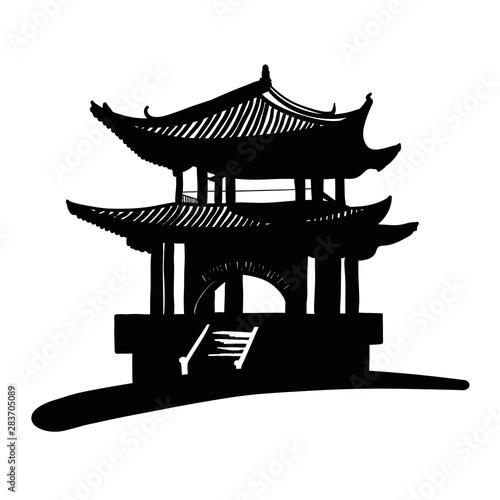 Fotografie, Obraz Chinese national building pagoda