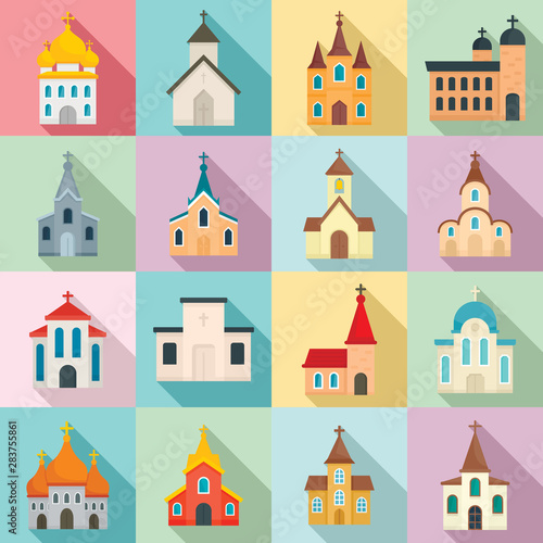 Fotomural Church icons set. Flat set of church vector icons for web design