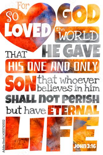 Stampa su Tela For God so loved the world (John 3:16)