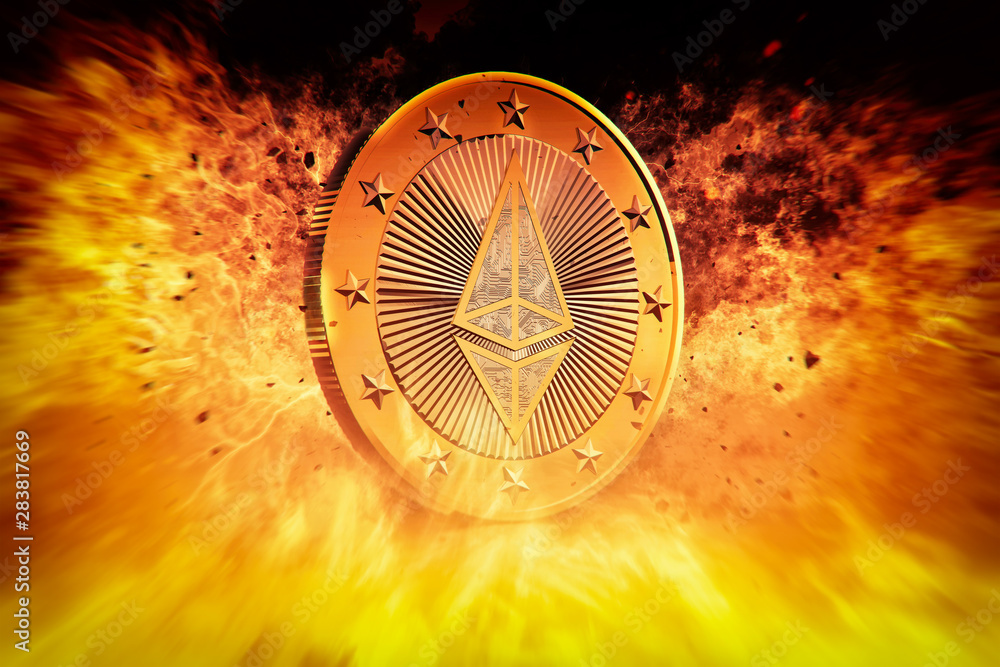 Ethereum is on Fire - Ethereum the Virtual Currency - 3D Rendering