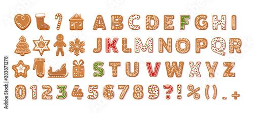 Gingerbread holidays cookies font alphabet vector cartoon illustration