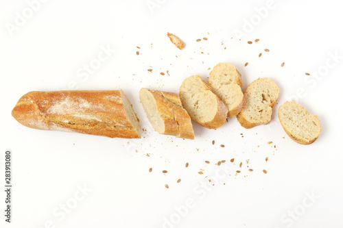 Tableau sur Toile fresh bread on a white background top view.