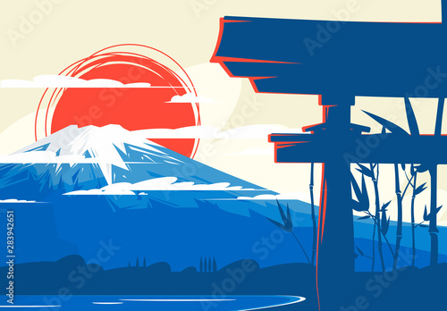 Wallpaper Mural Vector illustration of a Japanese mountain, volcano, against a red sun, in the f