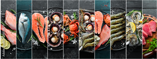 Canvas Print Photo collage. Seafood and raw fish on black stone background.