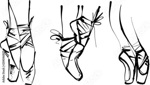 Fotografia vector illustration of ballerina feet en pointe
