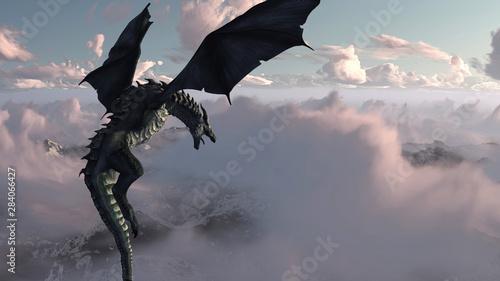 Fotografie, Obraz High resolution Ice dragon 3D rendered