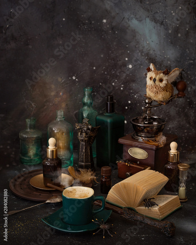 Magic coffee for Malfoy and Harry Potter on the table. Fototapeta