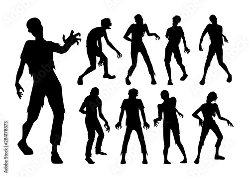 Obraz na plátně Male Zombie standing and walking actions in Silhouette style collection