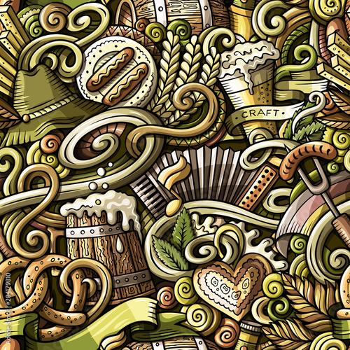 Photo Cartoon cute funny doodles Octoberfest seamless pattern