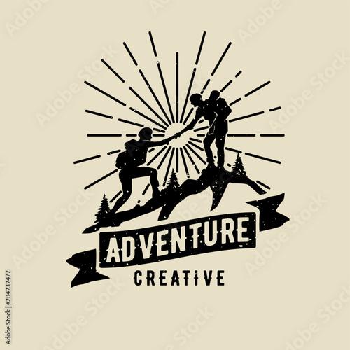Slika na platnu vintage adventure male help friend hiking logo vector icon design illustration