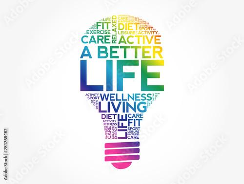 A Better Life bulb word cloud, health concept background Fototapeta