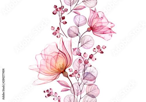 Przezroczysta akwarela róża. Bezszwowa pionowa granica kwiecista ilustracja. Na białym tle ręcznie rysowane układ z jagodami na ślub, nadruk karty papeterii