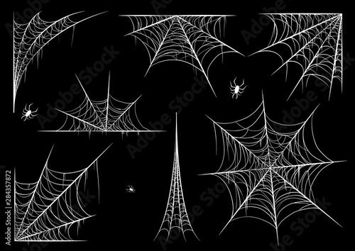 Obraz na plátně Spiderweb set, isolated on black transparent background