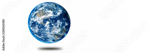 Earth planet concept hovering on a white background showing America panoramic #284363480