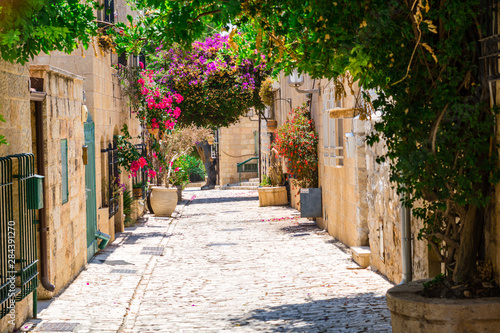 stone narrow street in Jerusalem old city