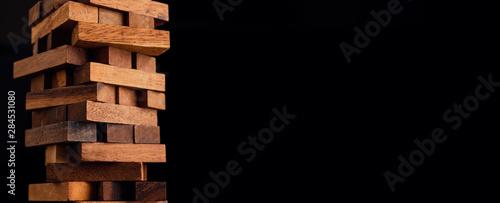Fotografia business organize  management strategy ideas concept wood stack block tower arra