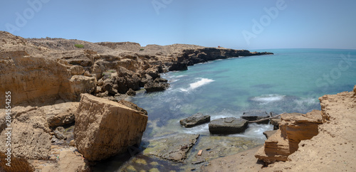 Charrana Beach In Nador city - Morocco - melilla. Perfect beach view, Summer holiday and vacation design, Mediterranean beach, Beautiful mountains and beautiful sand, Tranquil scenery, relaxing beach.