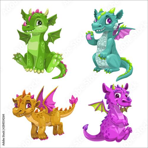 Fototapeta Little cute cartoon baby dragons set. Vector.
