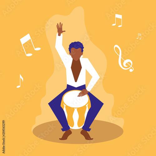 Obraz na plátně man playing bongo drum artists