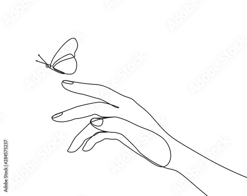 Fotografia Butterfly flies by hand one line drawing on white isolated background