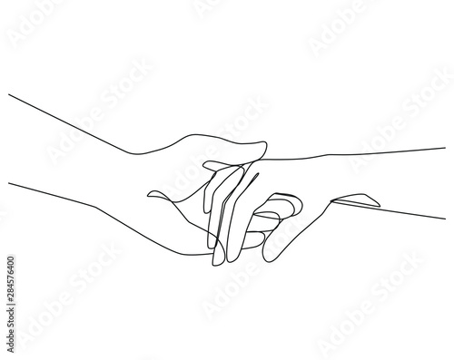 Carta da parati Holding hands one line drawing on white isolated background