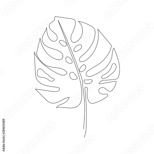 Stampa su Tela Exotic monstera continuous one line drawing summer tropical leaf hand drawn on w