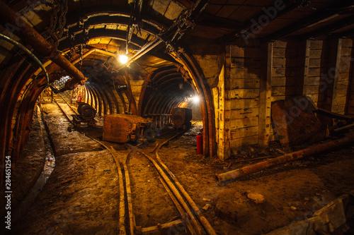 Fotografie, Obraz Underground mining tunnel with rails
