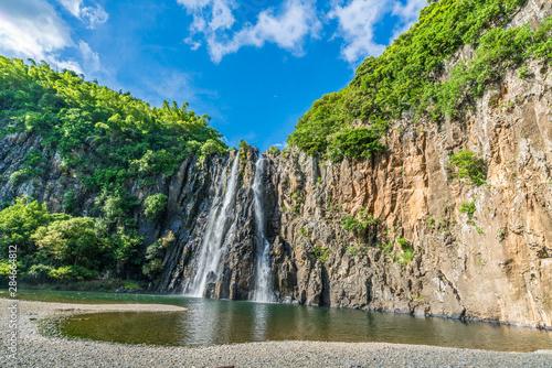 Fototapeta The waterfalls of  Niagara Cascade situated in the north of  La Reunion Island