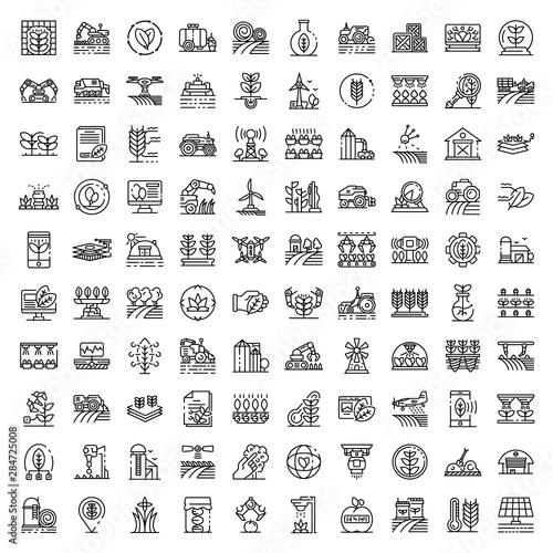 Photo Farming robot icons set