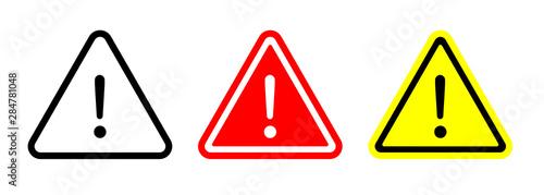 Fotografie, Obraz Caution warning signs set. Exclamation marks