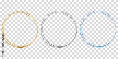 set of 3 circle frames on transparent background Fototapeta