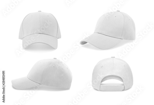 Fotografie, Obraz White baseball cap in four different angles views. Mock up.