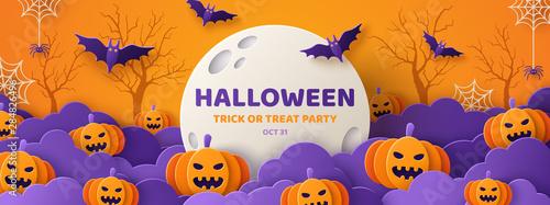 Photo Halloween paper cut orange banner