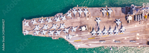 Canvas Top View Aircraft Carrier warship battleship In the ocean Navy