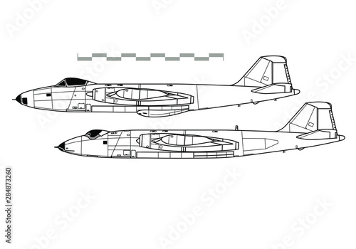 Photo English Electric Canberra. Outline vector drawing