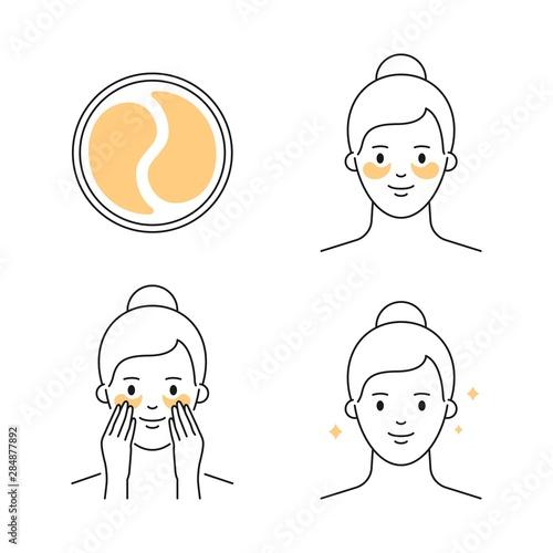 Fotografia, Obraz Eye gel patch applying vector icon