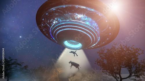 Slika na platnu Man and cow floating to inside of ufo alien ship