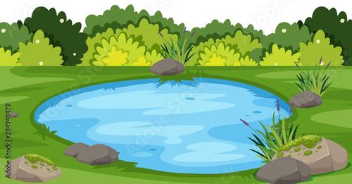 Obraz na plátně Landscape background with small pond in park